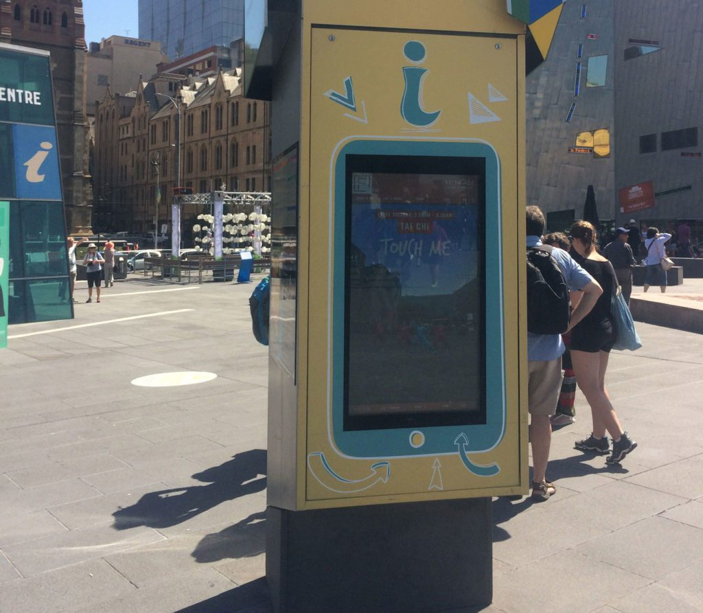 Metrospec Touch Screen Outdoor LCD Kiosk being used in Melbourne's Federation Square
