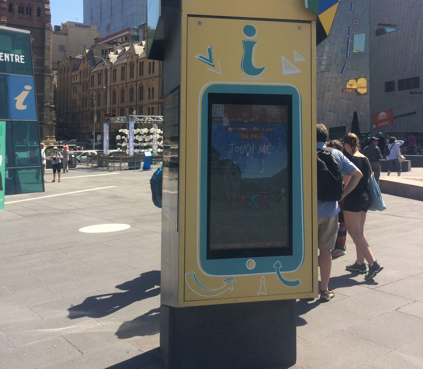 Metrospec Touch Screen Outdoor LCD Displays (Kiosk/Bollard) being used in Melbourne's Federation Square
