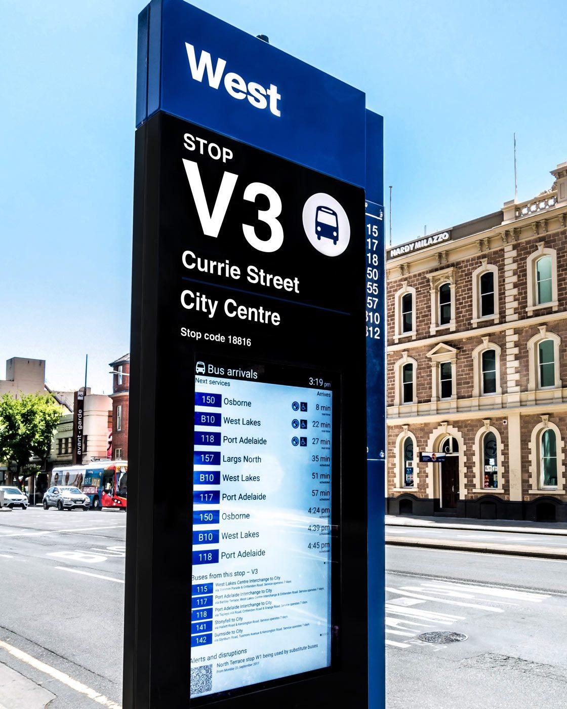 outdoor digital totem - Adelaide Bus Stop