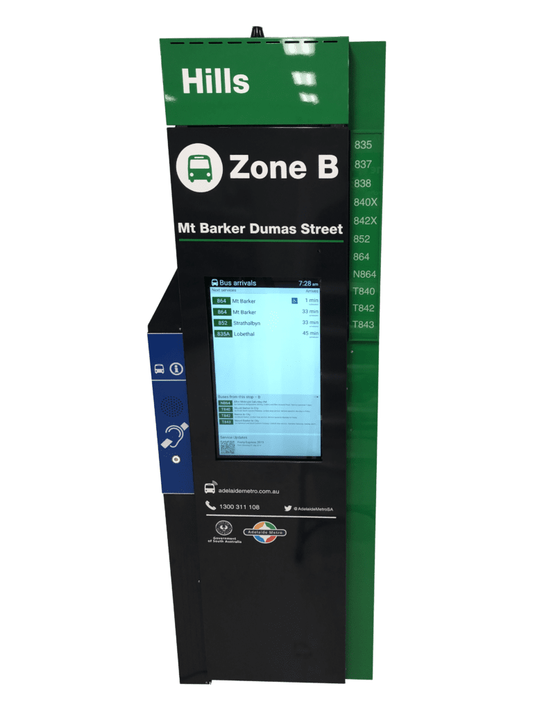 Digital Bus Stop Totem with inbuilt Voice Annunciator and Hearing Loop System